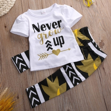 Lovely Casual Letter Print White Girl Two-piece Pants Se