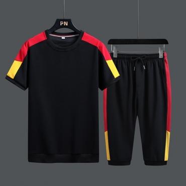 Lovely Sportswear Patchwork Black Two-piece Shorts Set