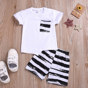 Lovely Casual Striped White Boy Two-piece Shorts Set