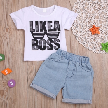 Lovely Casual Letter Print White Boy Two-piece Shorts Set