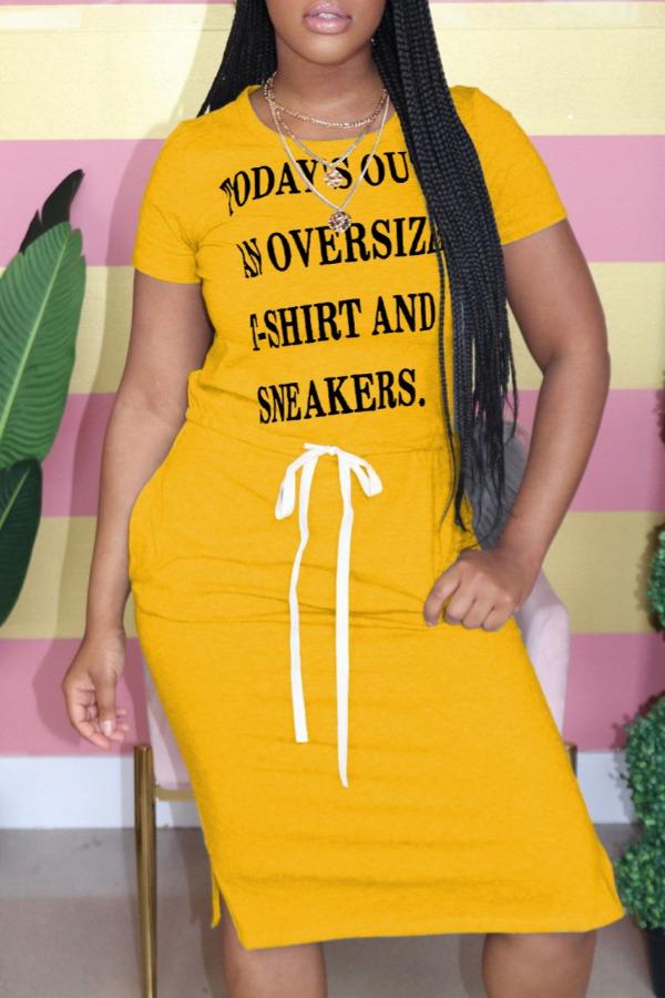 Lovely Leisure O Neck Letter Print Yellow Knee Length Dress