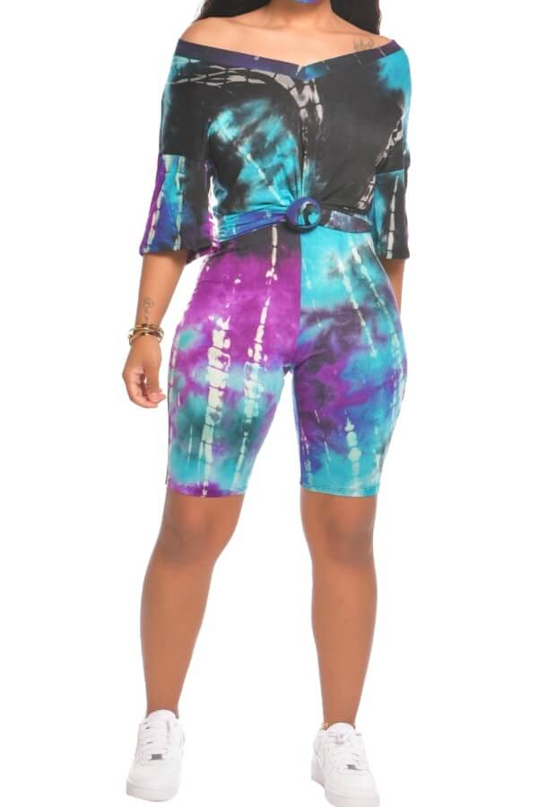 Lovely Casual Tie Dye Black Two Piece Shorts Set