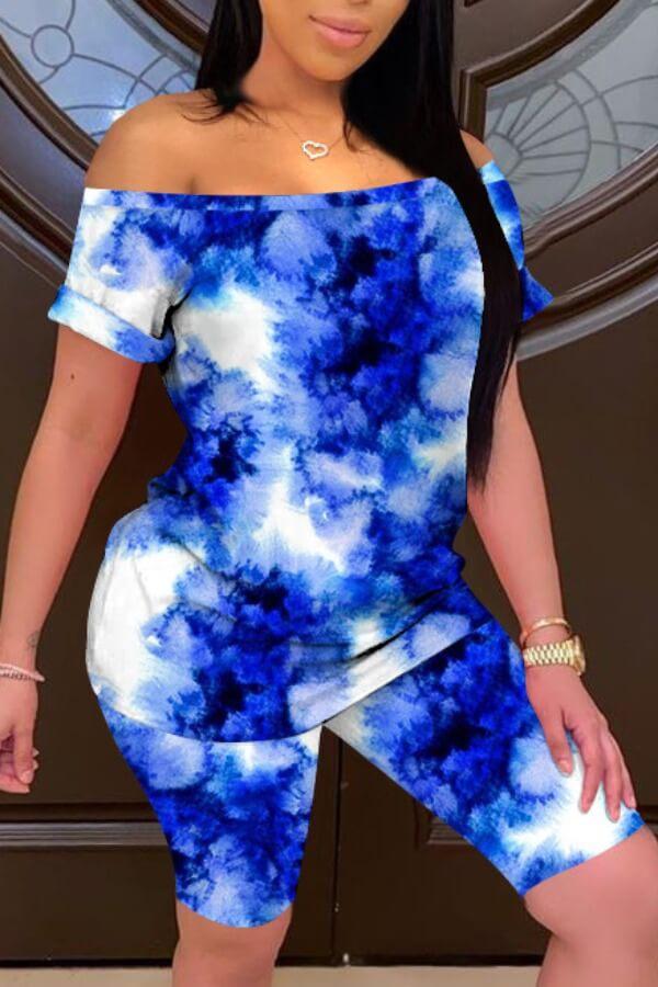Lovely Casual Tie-dye Blue Two-piece Shorts Set фото
