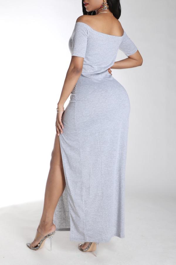 Lovely Stylish Side High SlitGrey Maxi Dress