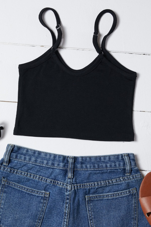 Lovely Casual Skinny Black Camisole