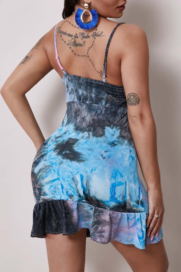 Lovely Trendy Tie-dye Purple Mini Dress