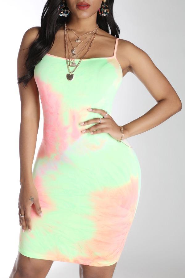 Lovely Casual Tie-dye JacinthMini Dress