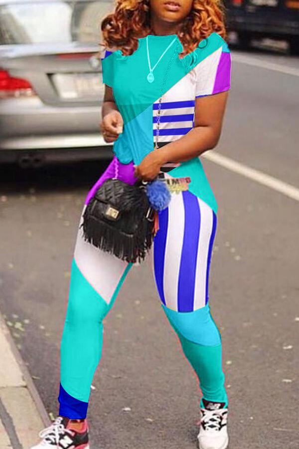 Lovely Sportswear Patchwork Cyan Two-piece Pants Set