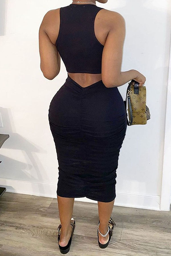 Lovely Casual Letter Black Mid Calf Dress