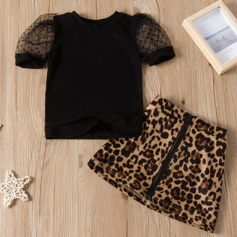 Lovely Trendy Print Black Girl Two-piece Skirt Set