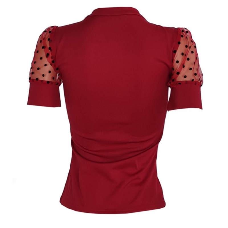 Lovely Stylish Patchwork Red Blouse