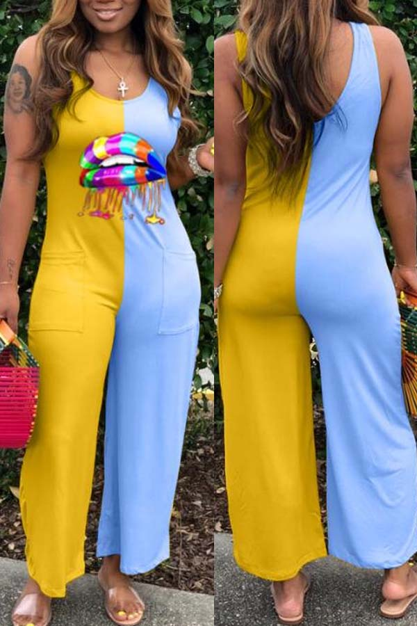 Lovely Trendy Patchwork Yellow One-piece Jumpsuit