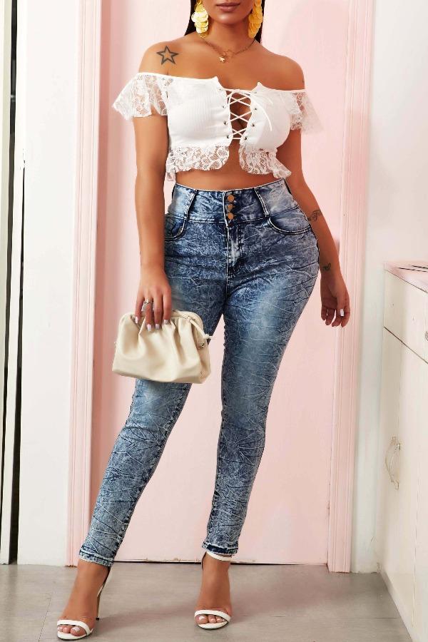 Lovely Sexy Lace Hem Bandage Design White Blouse