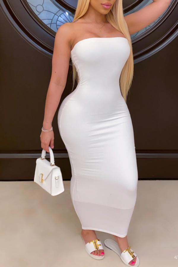 Lovely Trendy Dew Shoulder White Ankle Length Dress