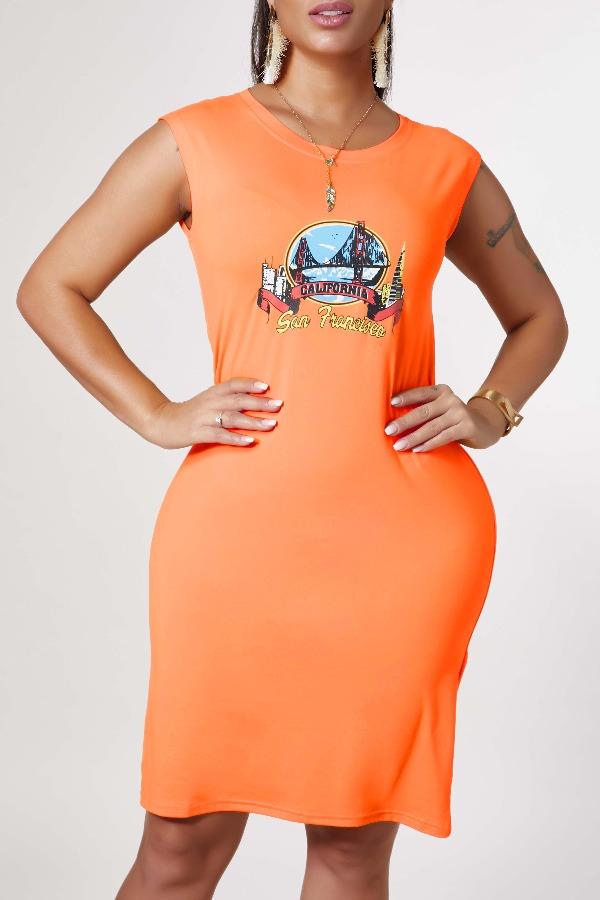 lovely Leisure O Neck Print CrociKnee Length Dress