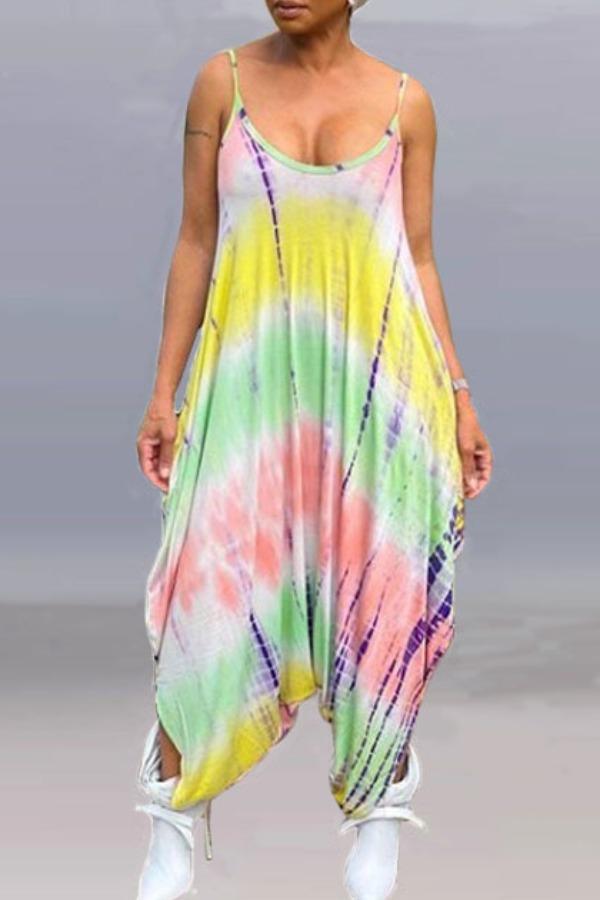 lovely Trendy Tie-dye Multicolor One-piece Jumpsuit