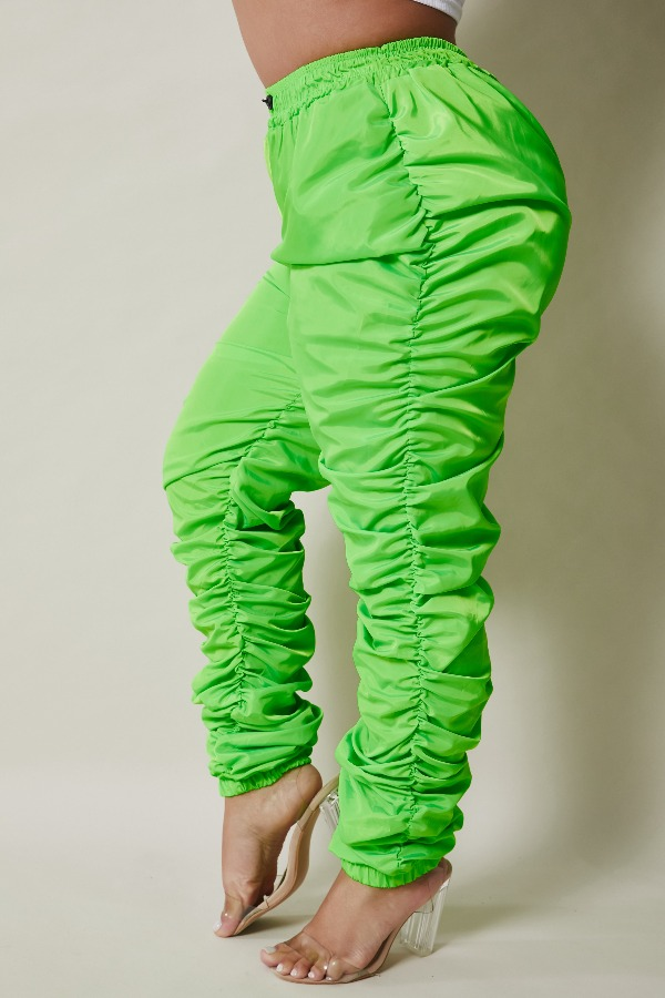 Lovely Stylish Fold Design Green Plus Size Pants фото