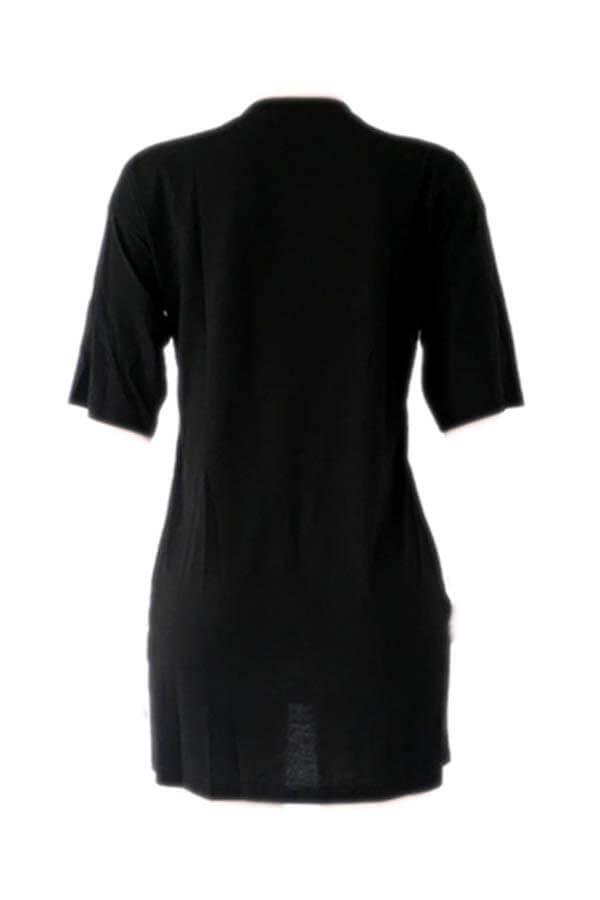Lovely Casual Letter Print Black Mini Plus Size Dress