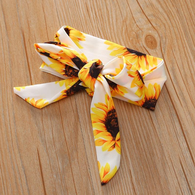 lovely Trendy Sunflower Print White Girl Two-piece Pants Set