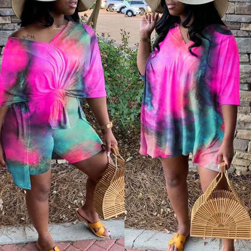 Lovely Leisure Tie-dye Rose Red Plus Size Two-piece Shorts Set фото