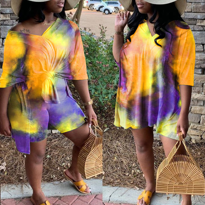 Lovely Leisure Tie-dye Yellow Plus Size Two-piece Shorts Set фото