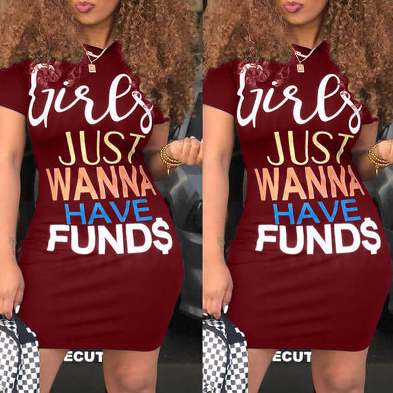 Daily Dress lovely Casual Letter Print Wine Red Mini Dress фото