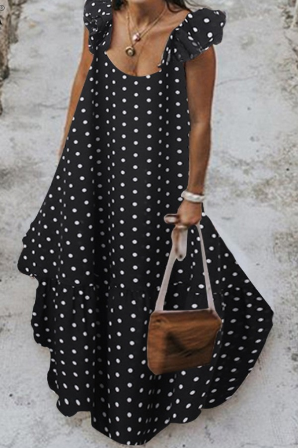 Lovely Sweet Dot Print Black Maxi Plus Size Dress фото