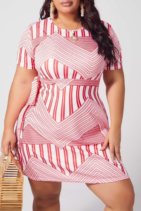 Lovely Leisure Striped Print Red Knee Length Plus Size Dress