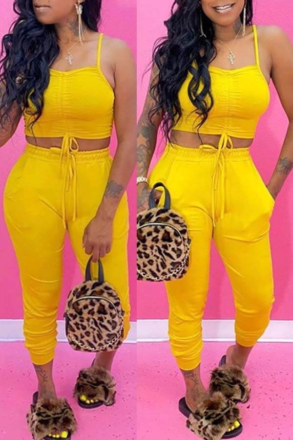 Lovely Sexy Lace-up Yellow Two-piece Pants Set фото