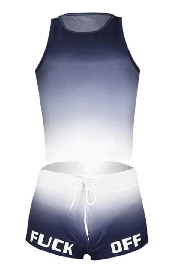 Lovely Sportswear Gradual Change Black Two-piece Shorts Set