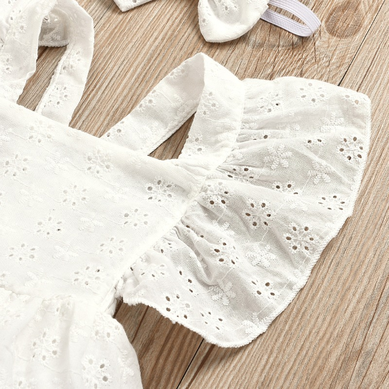 lovely Sweet Lace Fold Design White Girl Knee Length Dress
