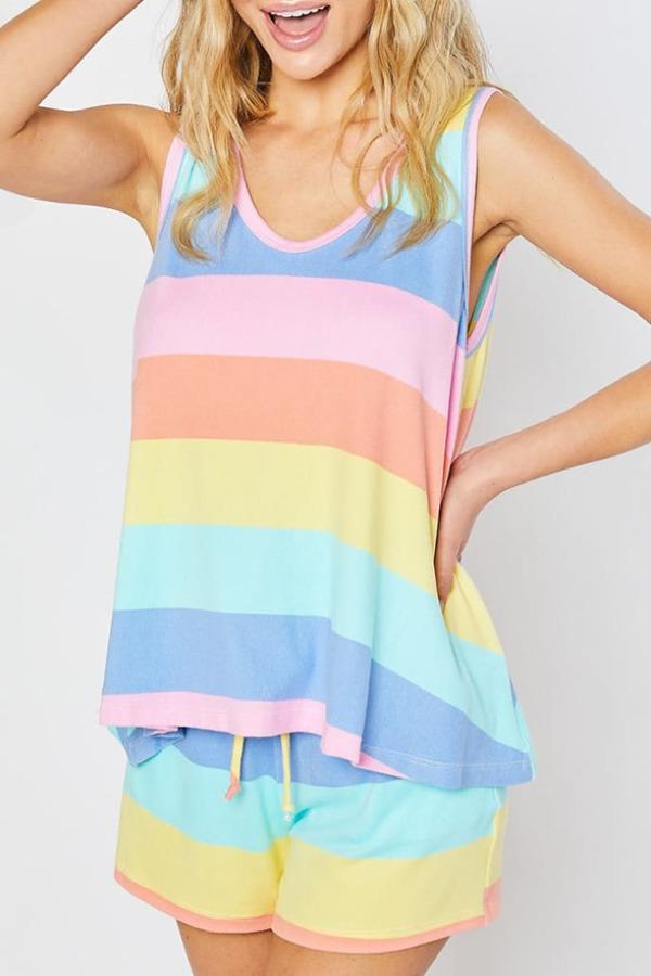 lovely Leisure Striped Multicolor Plus Size Sleepwear