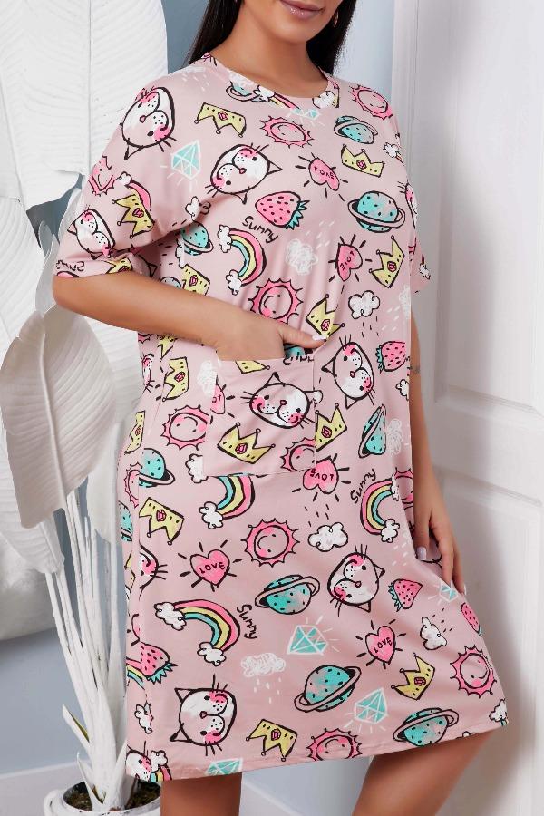 lovely Leisure Cartoon Print Multicolor Sleepwear