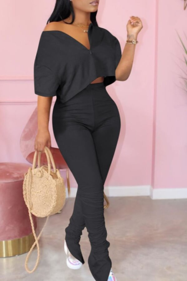 Lovely Casual Zipper Design Black Two-piece Pants Set фото