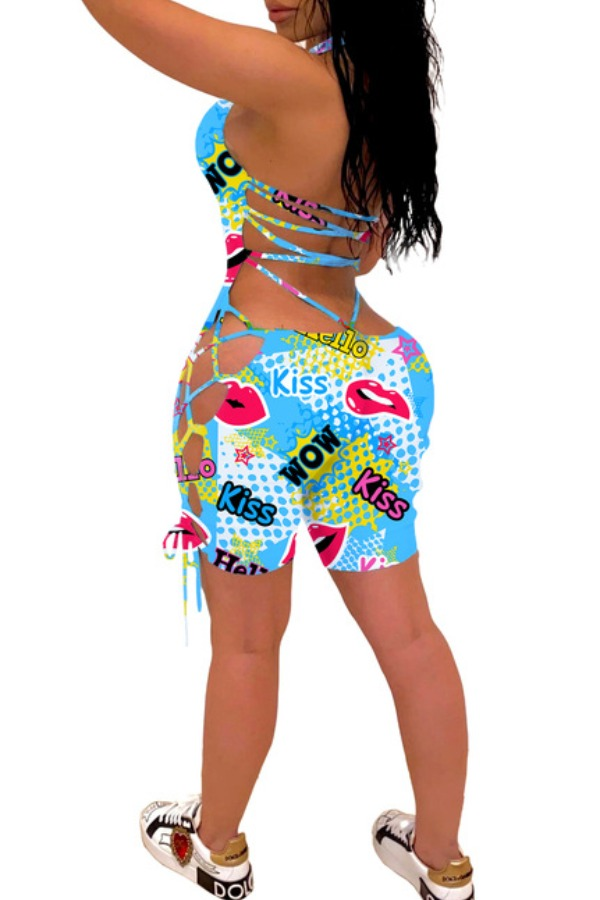 lovely Stylish Letter Print Skyblue One-piece Romper