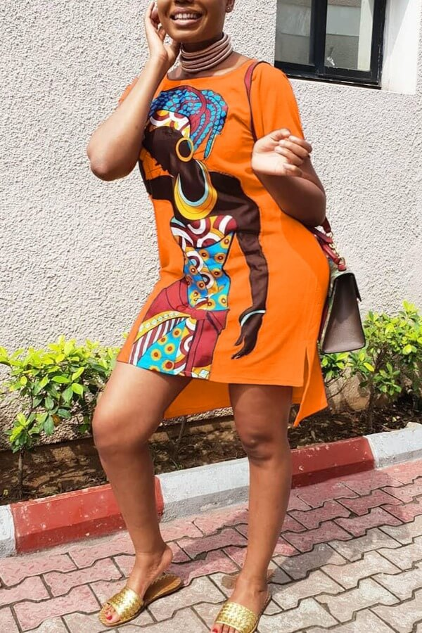 lovely Casual O Neck Print CrociKnee Length Plus Size Dress