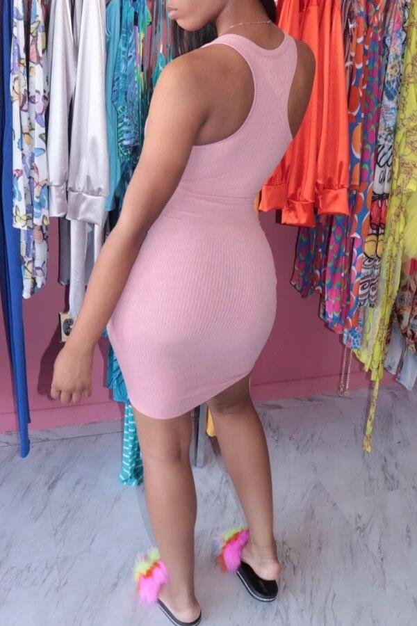 lovely Sexy Skinny Pink Mini Dress