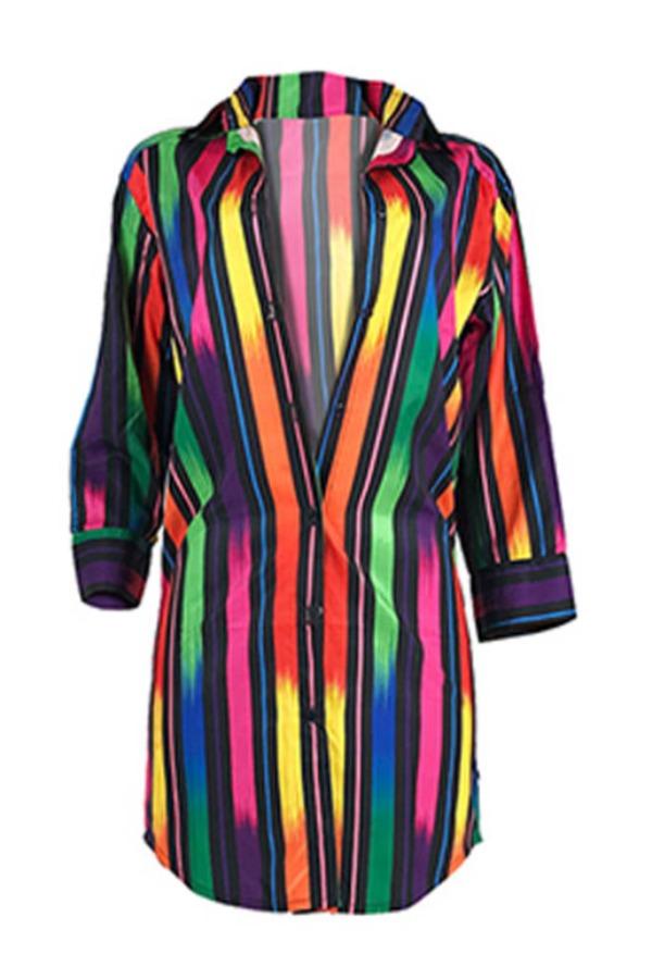 lovely Trendy Rainbow Striped Multicolor Mini Dress