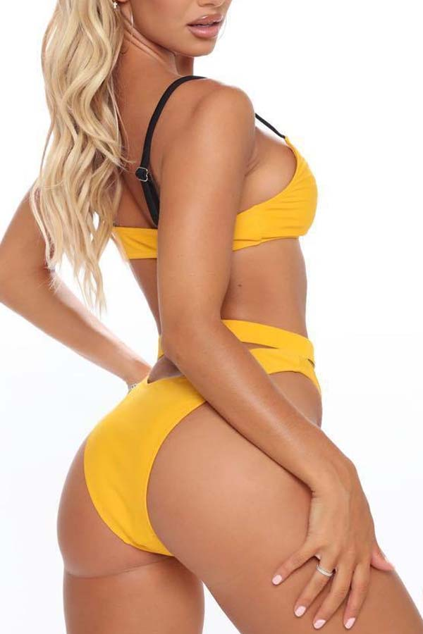 lovely Cut-Out Yellow Two-piece Swimsuit