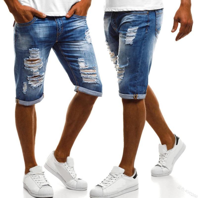 Men Denim Shorts lovely Casual Broken Holes Blue Denim Shorts фото