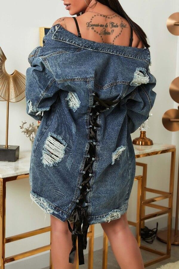 lovely Stylish Broken Holes Blue Denim Jacket