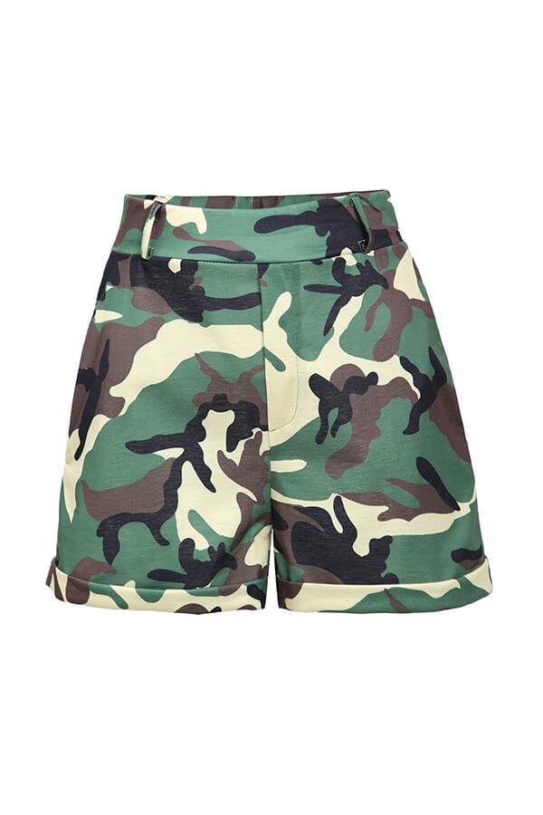 Lovely Trendy Camo Print Plus Size Two-piece Shorts Set