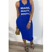 Lovely Leisure Letter Print Blue Mid Calf Dress