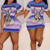 Lovely Casual O Neck Rabbit Purple Mini Dress