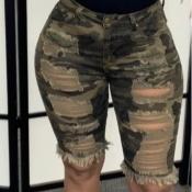 Lovely Stylish Broken Holes Camo Print Shorts