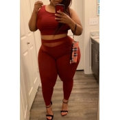 Lovely Casual Hollow-out Red Plus Size Two-piece P