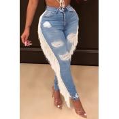 Lovely Trendy Tassel Design Blue Plus Size Jeans