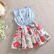 Lovely Trendy Patchwork Blue Girl Knee Length Dres