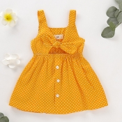 Lovely Sweet Dot Print Yellow Girl Mid Calf Dress