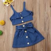 Lovely Trendy Buttons Design Blue Girl Two-piece Skirt Set